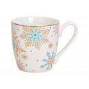 Jumbo mug snowflake decor porcellana bianca