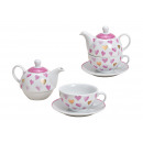 Teiera Set cuore in porcellana decor bianco, rosa,