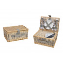Picnic basket for 4 persons beige set of 24, (B /