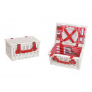 Picnic Basket for 2 People White, Red Set of 12, (