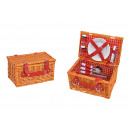 Picnic Basket for 2 persons Brown, red Set of 12,