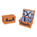 Picnic Basket for 2 persons Brown, blue Set of 12,