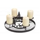 Advent Wreath Winter Forest Decor Metal Black (