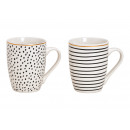 Mug stripes, dots decor porcellana bianca,