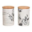 Großhandel Dekoration: Vorratsdose mit Bambus Deckel Blumen Dekor, Nostal