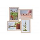 Cornice per foto 4 foto 10x15 cm in legno, vetro b