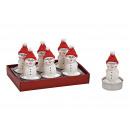 Teelicht-Set Schneemann 4x6x4cm aus Wachs Weiß 6er