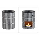 Duftlampe 3D Streifendekor aus Keramik Grigio, ner