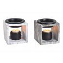 groothandel Huisgeuren/parfums: Aromalamp marmerlook in keramisch grijs, ...