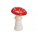 Fungo in ceramica rosso, bianco (B / H / D) 13x19x