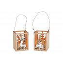 wholesale Wind Lights & Lanterns: Windlight Winter Wood Decor, Glass Brown 2-