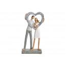 Amanti con cuore in argento massiccio (B / H / D)