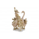 Geese with fir tree in poly beige / gold (B / H /