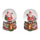 Snowglobe Santa Claus en base de piel de venado de