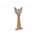 Angelo di mango in legno, con ali in alluminio Mar