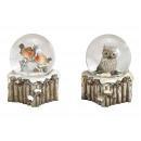 Hógömb madár, bagoly dekorációval, poli, üvegszürk