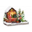 Winter scene Christmas tree sale Stand with lighti