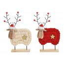 Espositore alce legno, rosso lana, bianco 2 volte