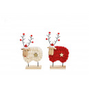 Display Elk made of wood, wool red, white 2-fold s