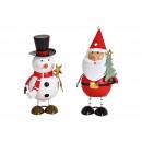 Babbo Natale / pupazzo di neve in metallo Colorful