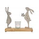 Espositore Coniglio in metallo su base in legno di