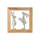 Wandhänger Hase aus Metall im Mangoholz Rahmen Sil
