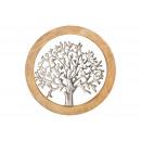 Großhandel Dekoration: Wandhänger Baum aus Metall im Mangoholzkreis Silbe