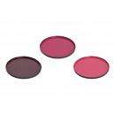 Vassoio in metallo Bordeaux, rosa 3- volte assorti