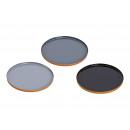 Vassoio di metallo nero, grigio 3- volte assortito