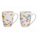 Mug Butterfly Decor Porcelain Multicolored 2-fa