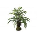 wholesale Artificial Flowers: Fern bush on mossballs 65x70cm made of plastic Gr