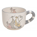 Mug decorazione famiglia di gatti in ceramica grig