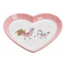 plate Rooster Chicken Decor, Pink Ceramic Heart Sh
