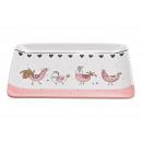 piatti Decoro pollo gallo in ceramica rosa / rosa,