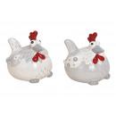 Huhn aus Keramik Weiß, grau 2-fach sortiert, (B/H/
