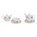 Set teiera Butterfly porcellana bianco 3er