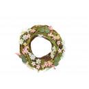 Wreath flower decor of rattan / wood color (B / H