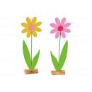 Blomma på träställ gjord av filtgul / rosa tvåfald