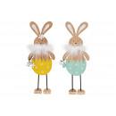 Coniglietto in legno, colore piuma 2- volte assort