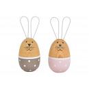 Wooden rabbit / metal pink / gray 2- times assorte