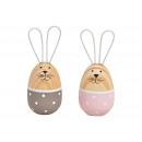 Wooden / metal rabbit pink / gray 2- times assorte