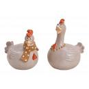 Pollo in ceramica ceramica 2- volte assortito , (W