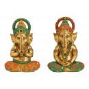 Ganesha realizzato in poli oro, verde, arancione 2