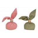 Coniglio in tessuto rosa / rosa, verde 2- volte as