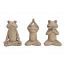 Yoga Frog arcilla marrón 3- veces surtido , (B / H
