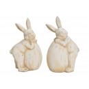 Coniglio con uovo di argilla Bianco 2- volte assor