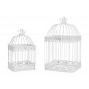 Birdcage Set di metallo bianco Set di 2, (B / H /
