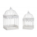 Set de 2 cages à oiseaux en métal, blanc, (B / H /