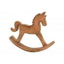 Cavallo a dondolo in legno di mango marrone (W / H