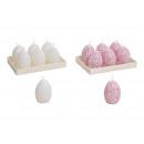 Set di candele Egg 4x6x4cm con motivo floreale in